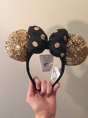 BNWT-Disney-Parks-Disneyland-Paris-Black-Gold-Polka